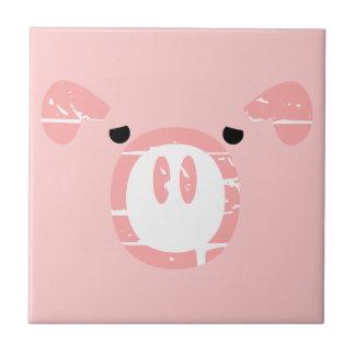 Cute Pig Face illusion. Ceramic Tile