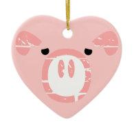 Cute Pig Face illusion. Christmas Tree Ornaments