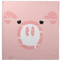Cute Pig Face illusion. Cloth Napkin