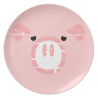 Cute Pig Face illusion. Dinner Plates