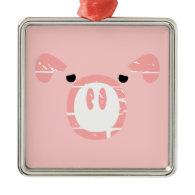 Cute Pig Face illusion. Ornaments