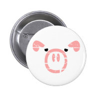 Cute Pig Face illusion. Pinback Buttons