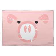 Cute Pig Face illusion. Placemats