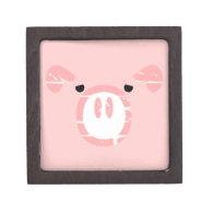 Cute Pig Face illusion. Premium Trinket Box