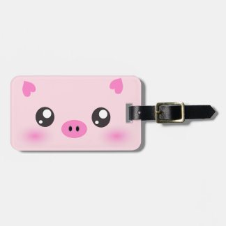Cute Pig Face - kawaii minimalism Bag Tag