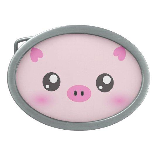 Cute Pig Face - kawaii minimalism Belt Buckle