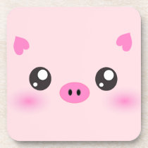 Cute Pig Face - kawaii minimalism Beverage Coaster