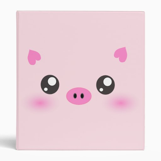 Cute Pig Face - kawaii minimalism 3 Ring Binder