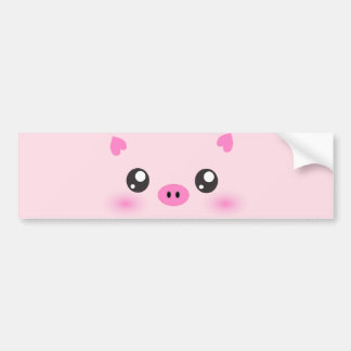 Cute Pig Face - kawaii minimalism Car Bumper Sticker