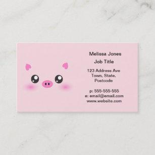 Kawaii faces business cards zazzle cute pig face kawaii minimalism business card colourmoves