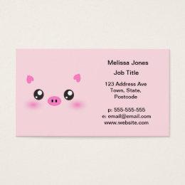 Kawaii faces business cards templates zazzle cute pig face kawaii minimalism business card colourmoves