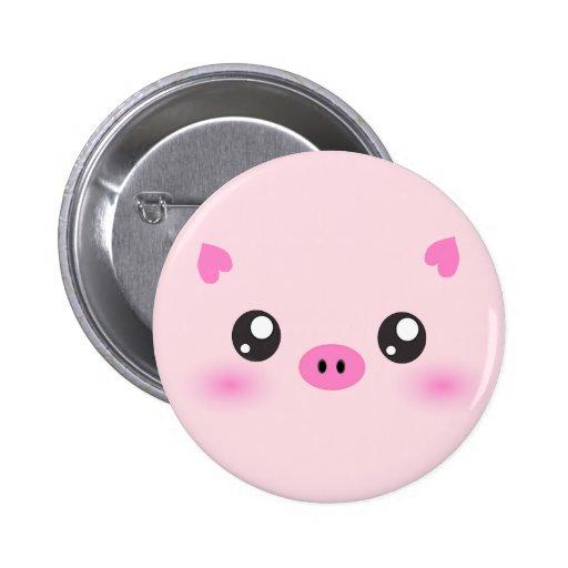 Cute Pig Face - kawaii minimalism Buttons
