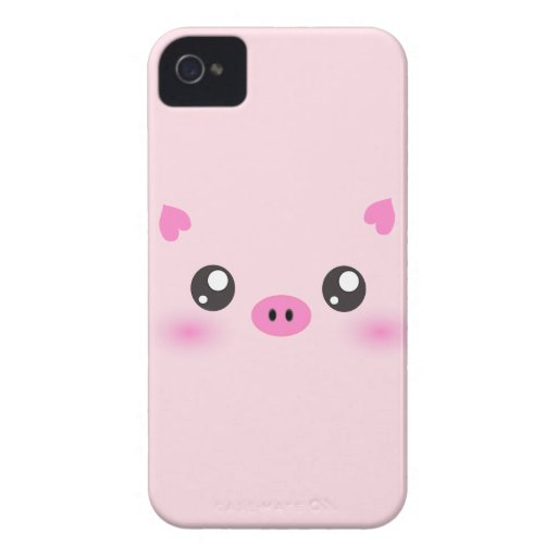 Cute Pig Face - kawaii minimalism iPhone 4 Case-Mate Cases