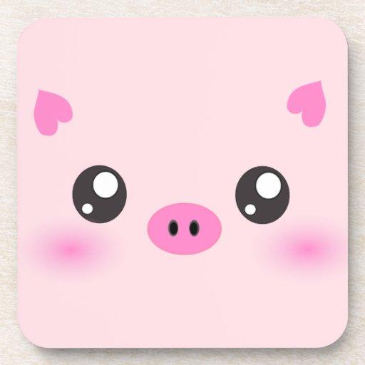 Cute Pig Face Kawaii Minimalism Coaster Zazzle
