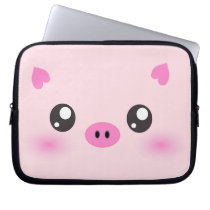 Cute Pig Face - kawaii minimalism Computer Sleeve