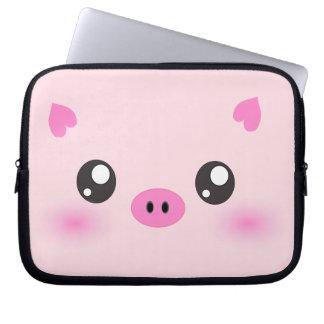 Cute Pig Face - kawaii minimalism Computer Sleeve