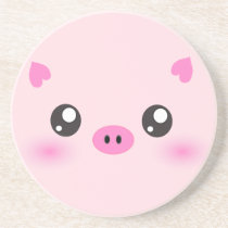 Cute Pig Face - kawaii minimalism Drink Coaster