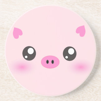 Cute Pig Face - kawaii minimalism Drink Coaster