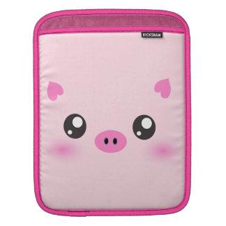 Cute Pig Face - kawaii minimalism Sleeves For iPads