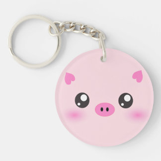 Cute Pig Face - kawaii minimalism Double-Sided Round Acrylic Keychain