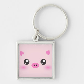 Cute Pig Face - kawaii minimalism Silver-Colored Square Keychain