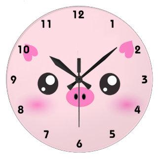 Cute Pig Face - kawaii minimalism Large Clock