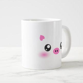 Cute Pig Face - kawaii minimalism Large Coffee Mug