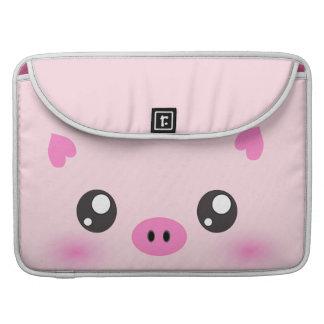 Cute Pig Face - kawaii minimalism Sleeve For MacBooks