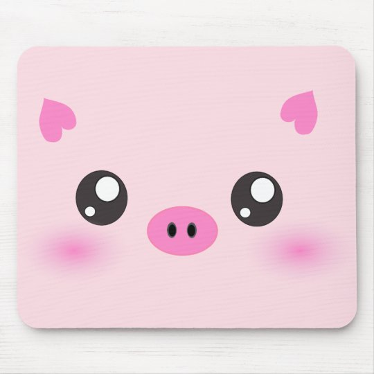Cute Pig Face - kawaii minimalism Mouse Pad
