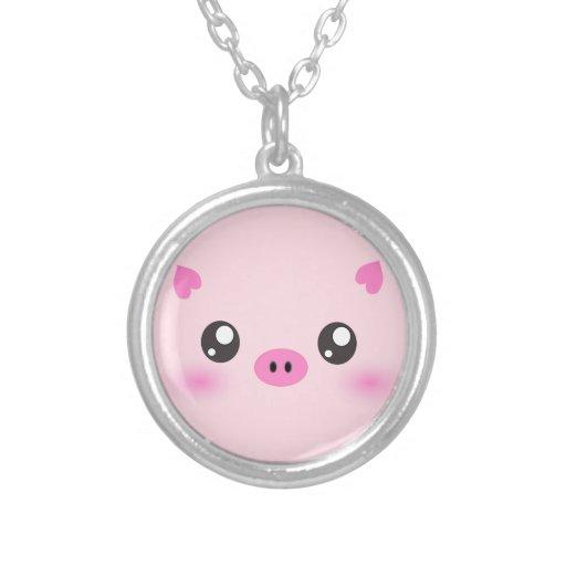 Cute Pig Face - kawaii minimalism Pendant