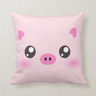 Cute Pig Face - kawaii minimalism Pillows