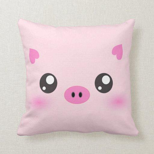 Cute Pig Face - kawaii minimalism Pillows Zazzle