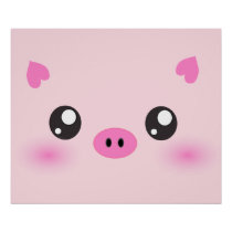 Cute Pig Face - kawaii minimalism Poster