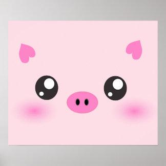 Cute Pig Face - kawaii minimalism Poster