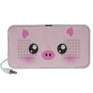 Cute Pig Face - kawaii minimalism Portable Speakers