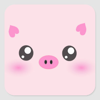 Cute Pig Face - kawaii minimalism Square Stickers