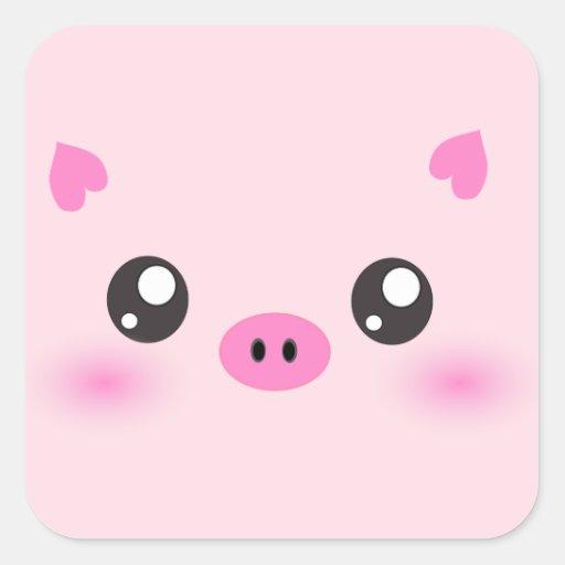 Cute Pig Face - kawaii minimalism Square Stickers