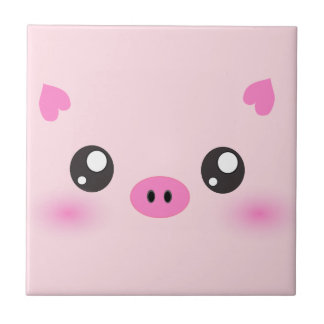 Cute Pig Face - kawaii minimalism Tile