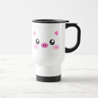Cute Pig Face - kawaii minimalism Travel Mug