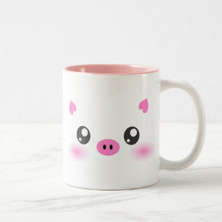 Cute Pig Face - kawaii minimalism Two-Tone Coffee Mug