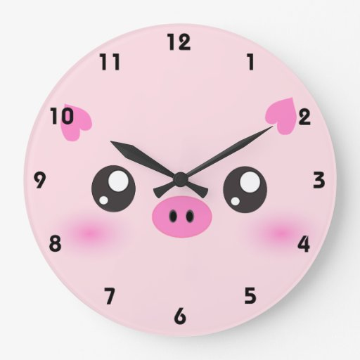 Cute Pig Face Kawaii Minimalism Wall Clock Zazzle