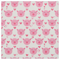Cute Pig Faces Pink Piggy Animal Pattern Fabric