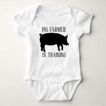 cute pig farmer in training baby bodysuit