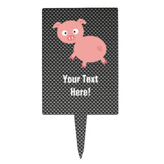 Cute Pig; Faux Carbon Fiber Rectangular Cake Toppers