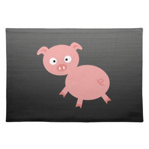 Cute Pig; Faux Carbon Fiber Place Mats