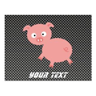 Cute Pig; Faux Carbon Fiber Postcard