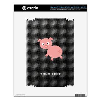 Cute Pig; Faux Carbon Fiber NOOK Skin