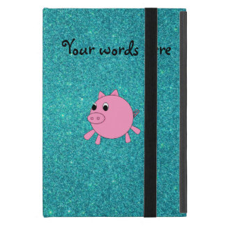 Cute pig faux turquoise glitter cases for iPad mini