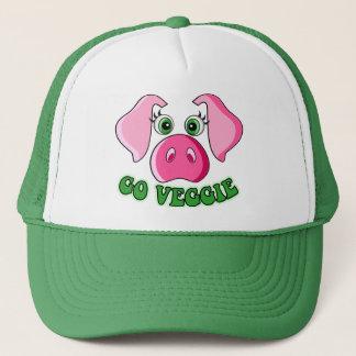 Cute pig, go veggie trucker hat