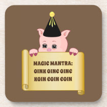 Cute Pig Guru Beverage Coaster